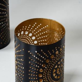 2er Set Teelichthalter Rund Schwarz Gold H11cm Metall Windlicht Kerzenhalter - Vorschau 4