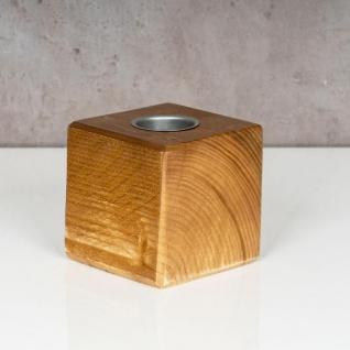 levandeo Teelichthalter Holz Massiv 10x10cm Eiche Farbig Kerzenständer Rustikal - Vorschau 2