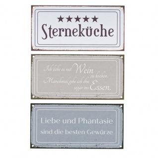 3er Set Wandbilder 18, 5x9cm Küche Schilder Aluminium Dibond Sterneküche Shabby Chic