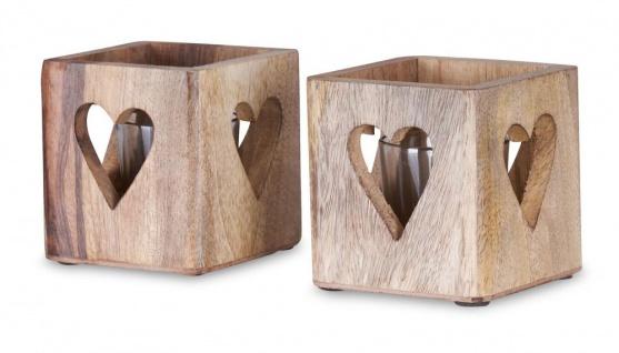 2er Set Windlicht Herz 9cm Mangoholz Teelicht Glaseinsatz Teelichthalter Kerze