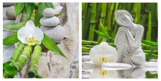levandeo 2er Set Glasbild 30x30cm Buddha Weiße Orchidee Bambus Wandbild Deko