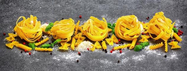 Wandbild 80x30cm Leinwand Pasta Nudeln Küche Deko Wanddeko Italien Wohnen