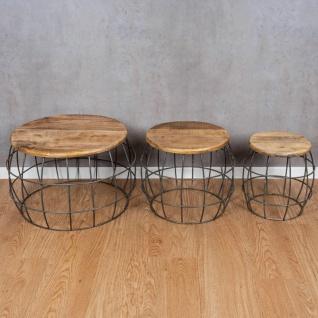 3er Set Couchtische Mango Rund Natur Eisen Schwarz Design Holz Beistelltisch - Vorschau 3