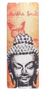 Holzschild Buddha Smile Holzbild Dekoschild Shabby Vintage Wandschild