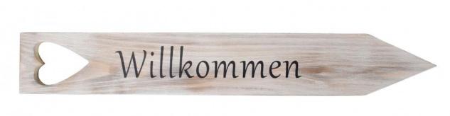 Gartenstecker Willkommen H47cm Holz Schild Garten Gartendeko Herz Dekoration