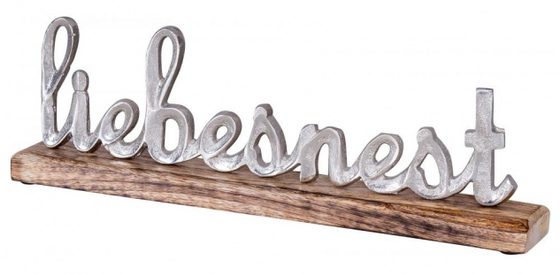 Schriftzug Liebesnest L40cm Metall Silber Mango Holz Tischdeko Deko Aufsteller