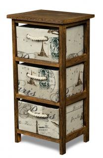Schrank Holz 58 cm Hoch Braun Regal Kommode Schränkchen Paris Eiffelturm