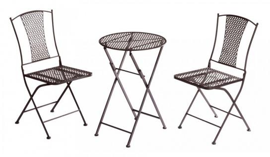 3er Set Garten Sitzgruppe Metall Braun Tisch Stuhl 3tlg Balkon-Set Deko Möbel