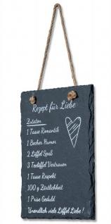 Wandbild Schiefer 15x20cm Schild Liebe Schieferplatte Sprüche Deko Tafel schwarz