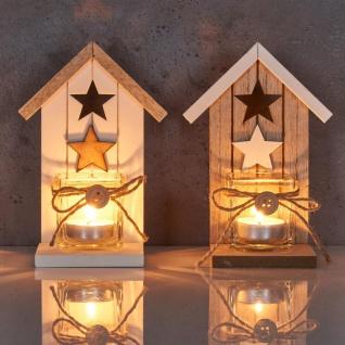 2er Set Teelichthalter H16, 5cm Glas Windlicht Stern Weiß Taupe Haus Holz Deko - Vorschau 5