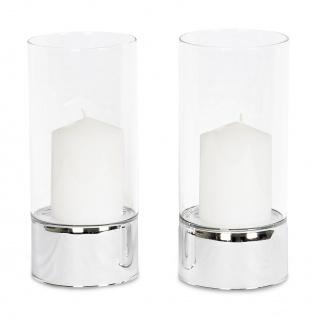 2er Set Windlichter Glas Säulen Silber Kerzenhalter inkl. Kerzen Kerzenständer