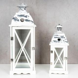 2tlg. Laternen Set Holz weiß Metall Glas Shabby Chic 42cm & 60cm 2er - Vorschau 3