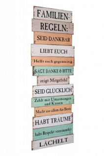 Großes Holzbild Holzschild Familienregeln Familie 116cm bunt Shabby