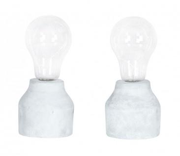 2er Set Tischleuchte 9x20cm LED Glühbirne Beton Tischlampe Deko Retro Tischdeko