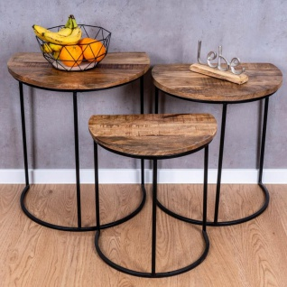 3er Set halbrunde Couchtische Mango Natur Eisen Schwarz Design Holz Beistelltisch - Vorschau 5