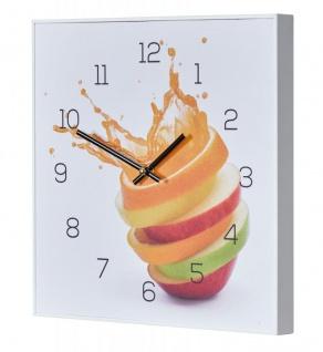 Wanduhr 30x30cm Uhr PVC Rahmen Weiß Orange Apfel Wasser Frucht Küche Wanddeko