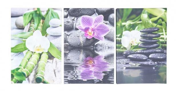 3er Set Wandbild je 20x30cm Leinwand Orchideen Bambus Deko Wanddeko