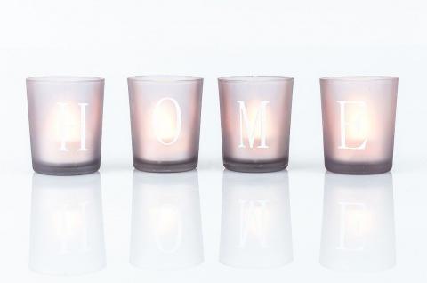 4er set led teelichter in glas windlichter schriftzug home grau braun kaufen bei living by design. Black Bedroom Furniture Sets. Home Design Ideas
