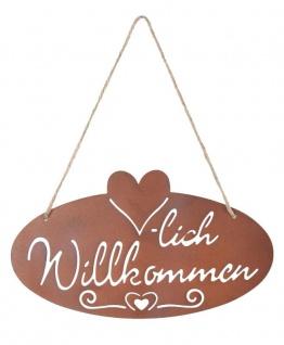 Schild Willkommen Herz 28, 5x16cm Garten-Deko Türschild Edelrost Wandbild