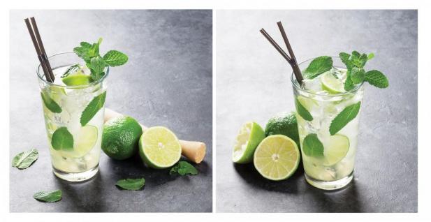 2er Set Glasbild 30x30cm Wandbild Glas Cocktail Mojito Lime Küche Deko Wanddeko