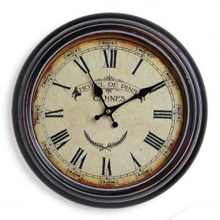 Wanduhr Metall 37cm France Frankreich Hotel - Nostalgie Landhaus Uhr