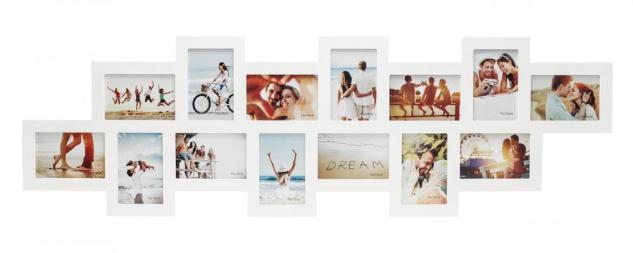 Bilderrahmen Collage Holz weiß 14 Fotos 10x15 Fotorahmen Galerie