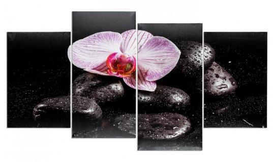 Wandbild 4 teilig Spa Wellness Orchidee Feng Shui Wasser Bild Leinwand