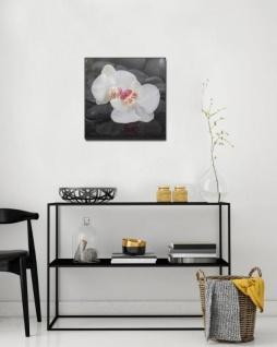 levandeo Glasbild 2er Set je 30x30cm Wandbild Glas Orchideen Blume Steine - Vorschau 5