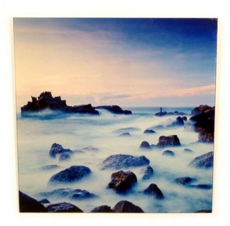 Wandbild Glas Glasbild 40x40cm Wolken Felsen blauer Himmel Sonne