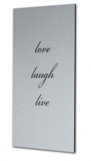 levandeo Wandbild Bild Schild Love Laugh Live 20x30cm Alu Aluminium gebürstet