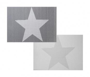 2er Set Platzset grau Stern Stars creme weiß Tischmatte Tischset