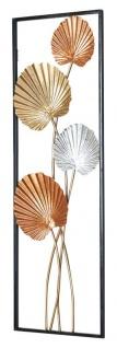 3D Wandbild 30x90cm Blätter Metall Silber Kupfer Gold Deko Wanddeko Design