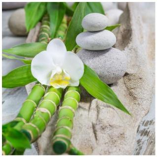 levandeo Glasbild 30x30cm Weiße Orchidee Bambus Wellness Wandbild Wanddeko