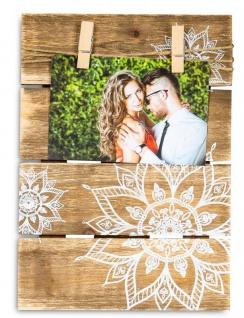 Bilderrahmen Fotoleine 10x15cm Klammern Mandala Holz Fotorahmen Tischdeko