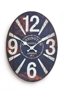 Wanduhr Metall blau 30x22cm oval London Kensington Station 1870 Uhr