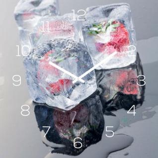 Wanduhr Glas 30x30cm Eiswürfel Erdbeere Frucht Glasuhr Uhr Glasbild Küche Deko