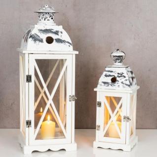 2tlg. Laternen Set Holz weiß Metall Glas Shabby Chic 42cm & 60cm 2er - Vorschau 4
