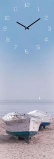 levandeo Wanduhr Glas 20x60cm Glasuhr Uhr Glasbild Boot Strand Beach Wanddeko