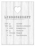 Holz-Schild Liebesrezept Shabby Liebe Herz Wandbild Wandobjekt Deko