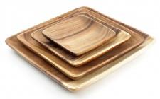 4 Holzteller Akazie quadtratisch Holz Schale Obstschale Aufbewahrung