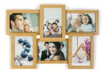 levandeo Bilderrahmen Collage 45x31cm 6 Fotos 10x15 Eiche MDF Holz Glasscheiben