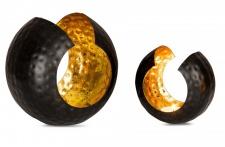 2er Set Teelichthalter 11cm und 15cm Windlicht Teelicht Schwarz Gold Metall