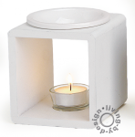 Duftlampe weiß Holz Keramik Öllampe Aromalampe Aromaspender