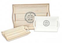 3tlg. Tablett-Set Servierbrett Holz braun weiß gewischt Shabby Home