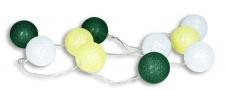 10er Lichterkette LED Kugeln Lampions Baumwolle Grün Weiß Cotton Warmweiß