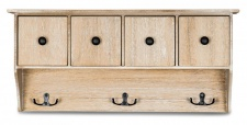 Wandregal Holz B x H x T: 46x21x10, 5cm Vintage Garderobe Schubladen Natur