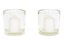 2er Set Windlicht Glas 12 x 12 cm Kerzenständer Kerzenhalter inkl. Kerze Deko