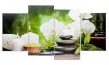 Wandbild 4 teilig Spa Wellness Kerzen Orchidee Feng Shui Bild Leinwand