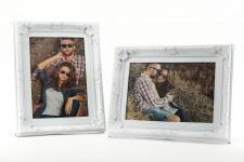 2er Set Fotorahmen je 1 Foto weiß 10x15 - Barock Landhaus Shabby Antik