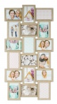 levandeo Bilderrahmen Collage 44x85cm 18 Fotos 10x15 Eiche gekälkt Holz MDF Glas